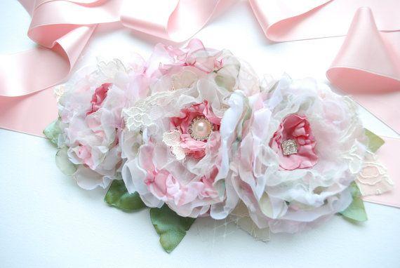 Rosa Rosen Blumen Braut Schärpe Gürtel schäbig von HansHolzkopf