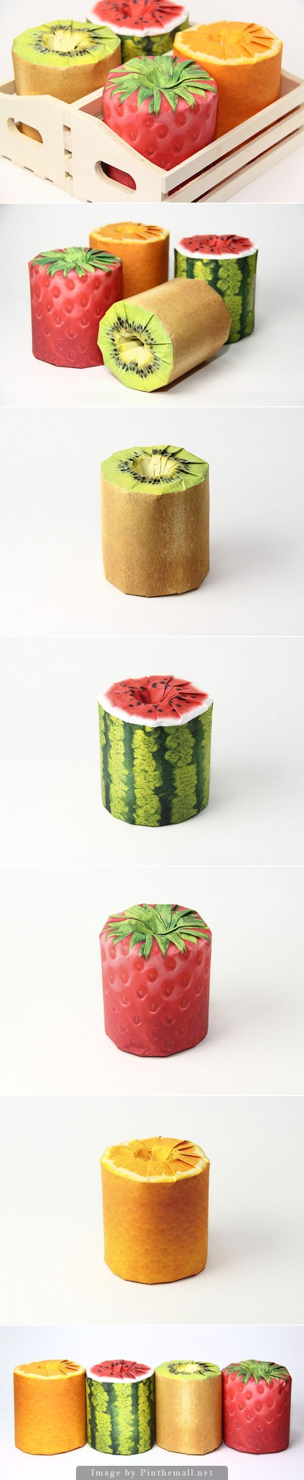 Why can't all toilet paper look like this? Fun packaging concept that I would buy curated by Packaging Diva PD created via http://www.packagingoftheworld.com/2014/09/fruits-toilet-paper-concept.html