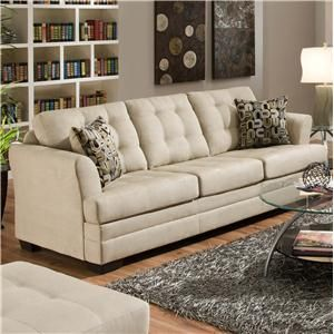 United Furniture Industries 2057 Contemporarty Sofa With Tufted Cushions   Old  Brick Furniture   Sofa Capital