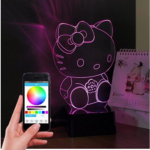 CNHIDEE 3d lamp with bluetooth speaker, music led controller lighting,3d hello kitty crystal table lamps with bluetooth speaker for bedroom