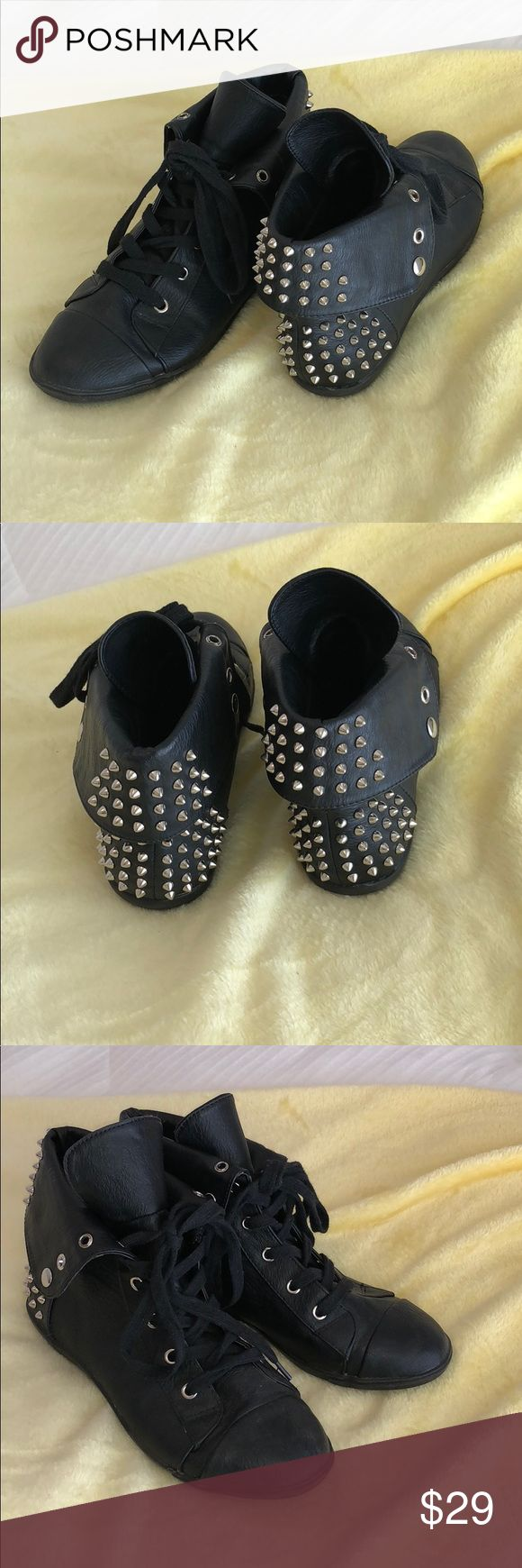 Black gold studded sneakers. Trendy Excellent condition.  Tie up studded sneakers.  Pet free Smoke free home. MC Vintage Shoes Sneakers