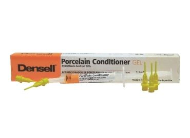PORCELAIN CONDITIONER • Para porcelana a base de ácido fluorhídrico • Deja la superficie apta para colocar el silano • Jeringa x 2.5ml + 10 aplicadores - Cod 1539