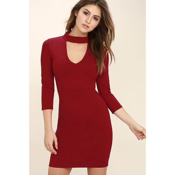 ee373fa979 ... super popular 85e85 4ab79 Seven Wonders Dark Red Bodycon Dress (43) ❤  liked on  super popular 2db9e b3f20 Lulus Daisy Date Black Lace Skater ...