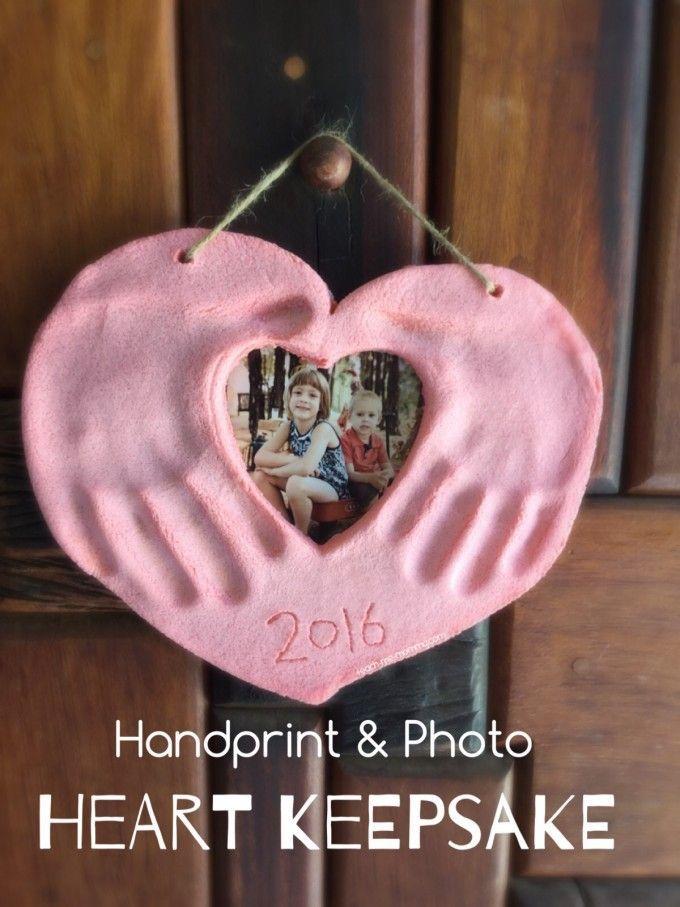 Handprint & Photo Heart Keepsake do a variation with a paper frame rather than dough