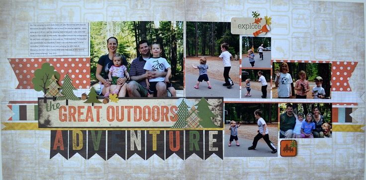 #papercraft #scrapbook #layout Great Outdoors Adventure Layout - Scrapbook Generation Page Kit