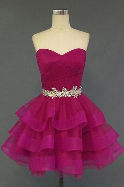 Sweetheart Neckline Short Puffy Homecoming Dresses Real Photos Layered Skirt Beaded Purple Dresses Juniors CS039