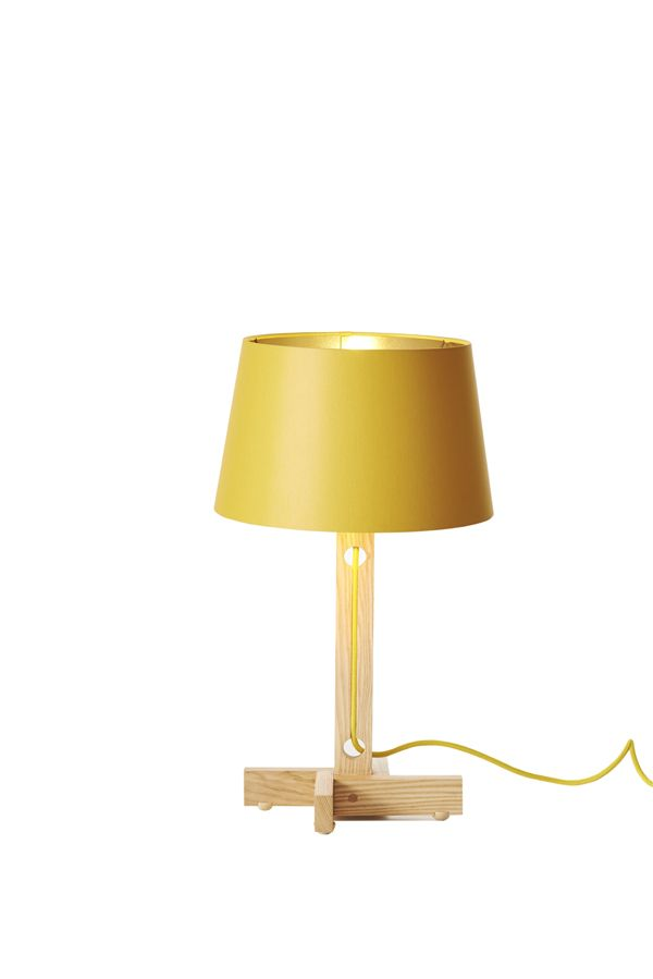 Ash Table Lamp With Yellow Shade And Gold Lining As Seen In House