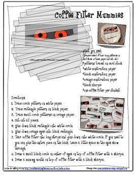 Mummy Craftivity with Coffee Filters for Skippyjon Jones a