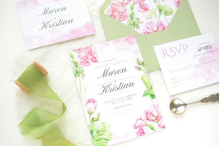 Geranium watercolor wedding invitation suite and envelope printing