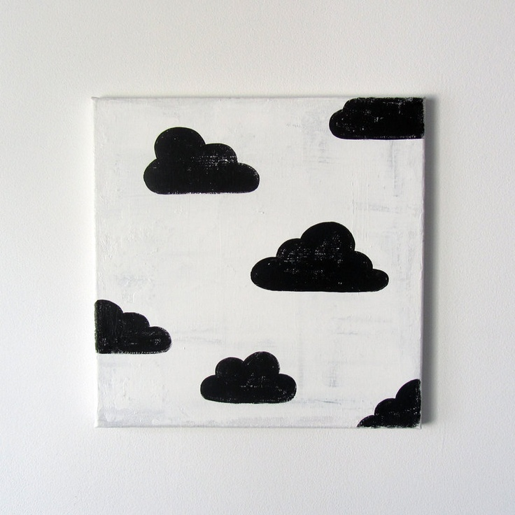 "No. 0035 - Black and White Cloud Modern Art Nursery / Kids Painting - 12"" x 12"" on regular depth canvas. $50.00, via Etsy."