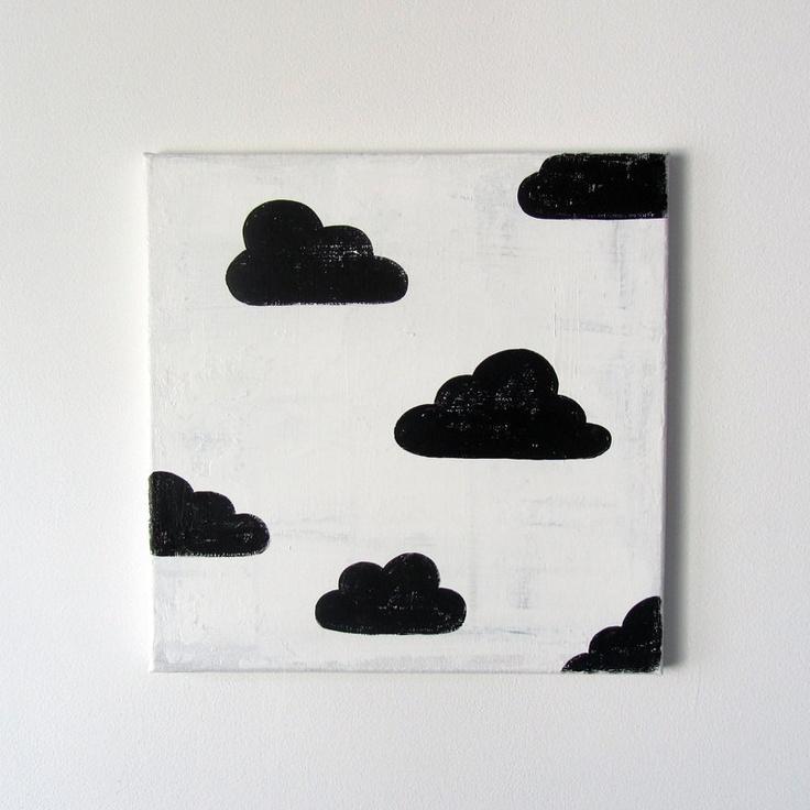 "No. 0035 - Black and White Cloud Modern Art Nursery / Kids Painting - 12"" x 12"" on regular depth canvas. $50.00, via Etsy."
