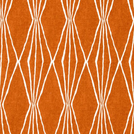 Tangerine Upholstery Fabric - Orange White Curtain Material - Geometric Upholstery Yardage - Orange Home Decor - Heavy Duty Cotton Fabric