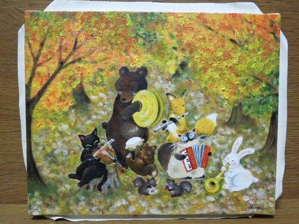 油絵作品秋深し、ねこ達が森の動物さんと演奏会。F3号(273×220mm)|ハンドメイド、手作り、手仕事品の通販・販売・購入ならCreema。