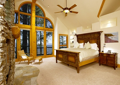 Maine Lodge - Beautiful view of the lake from the master bedroom...
