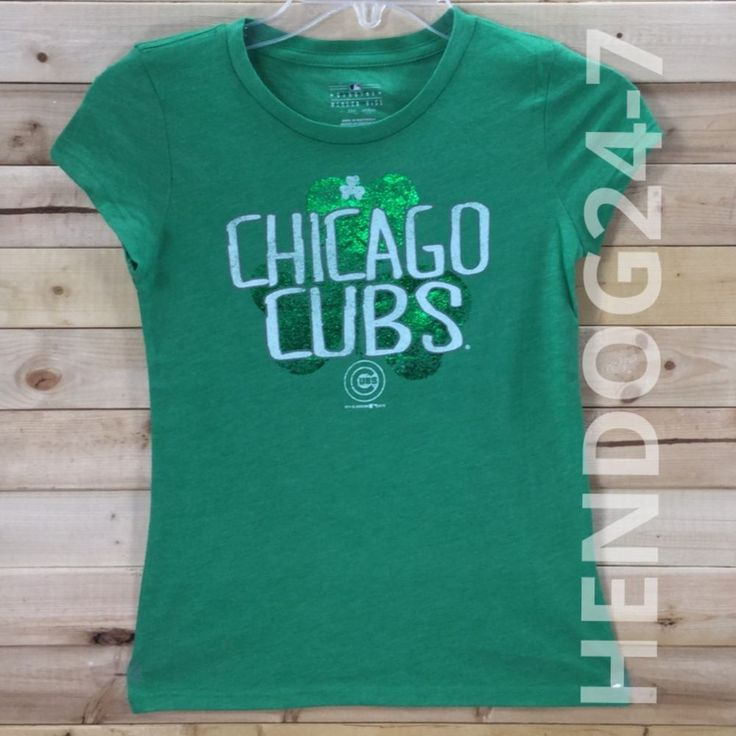 MLB CHICAGO CUBS IRISH SHAMROCK ST PATRICK'S DAY GIRL'S SHORT SLV TEE SZ XS-M #5THOCEAN #ChicagoCubs