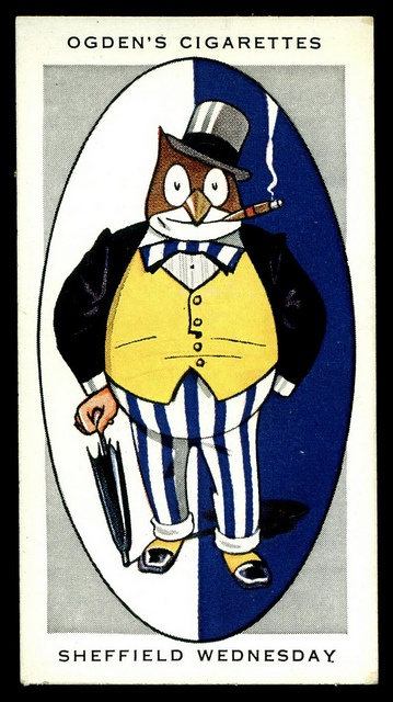 """Ogden's Cigarettes """"Association Football Club Nicknames"""" (series of 50 issued in 1933) #40 Sheffield Wednesday """"The Owls"""" I love these! #socialsheffield #sheffield"""