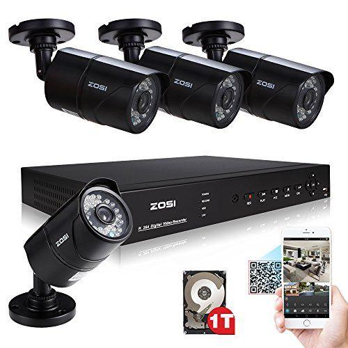 ZOSI 4PCS 1000TVL High Resolution 3.6mm Lens Outdoor 30m Night Vision IR Surveillance Cameras Home Security Video Camera System with 8CH 960H H.264 DVR CCTV with HDMI/BNC/ VGA Output 1TB Hard Disk
