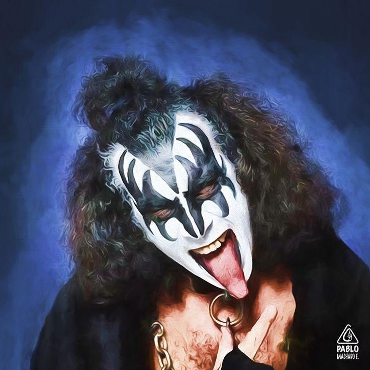 Gene Simmons Adobe Photoshop CS6 Retrato digital de los integrantes de la banda KISS. #pintura #digital #rock #gene #simmons