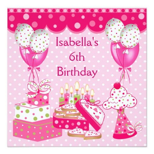 Girls 6th Birthday Party Pink Spot Cake