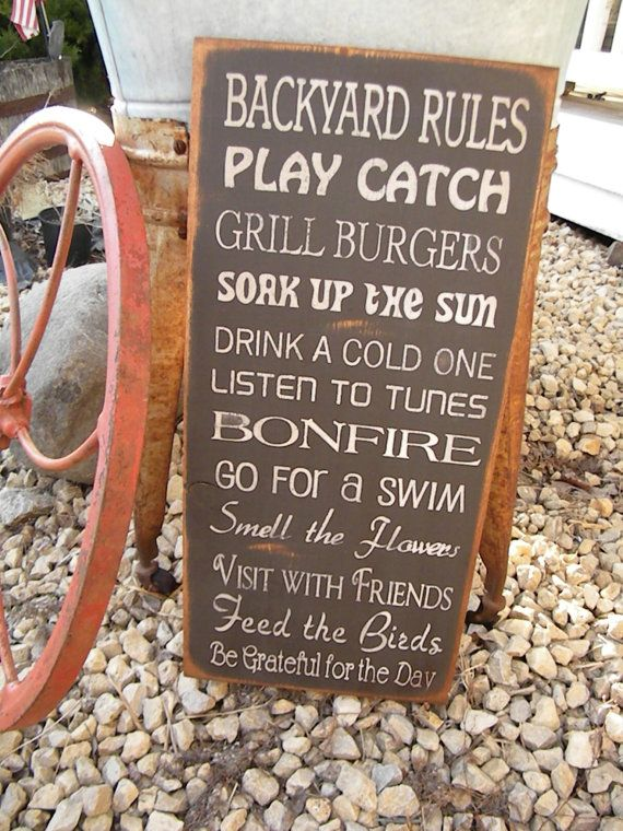 Large Rustic Backyard Rules 11x24 Sign Primitive Typography subway sign perfect gift for fathers day via Etsy