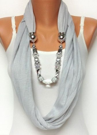 light grey jeweled scarf.
