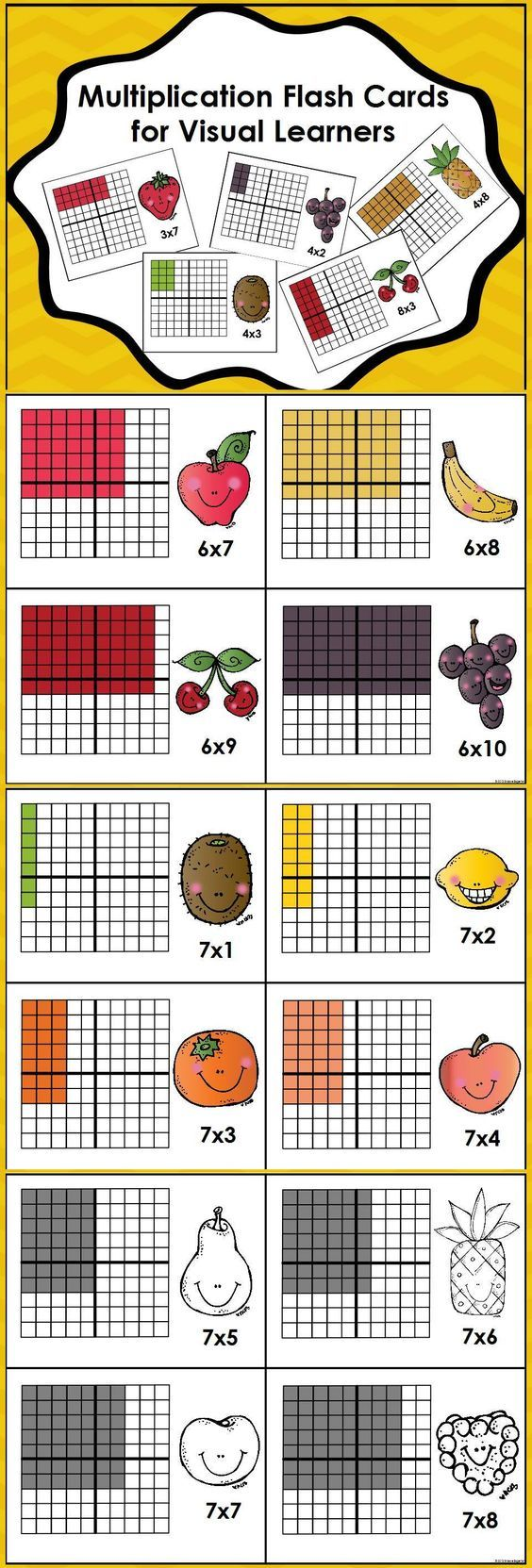 100 Array Cards to Help Learn Multiplication--Perfect for Visual Learners!! $: