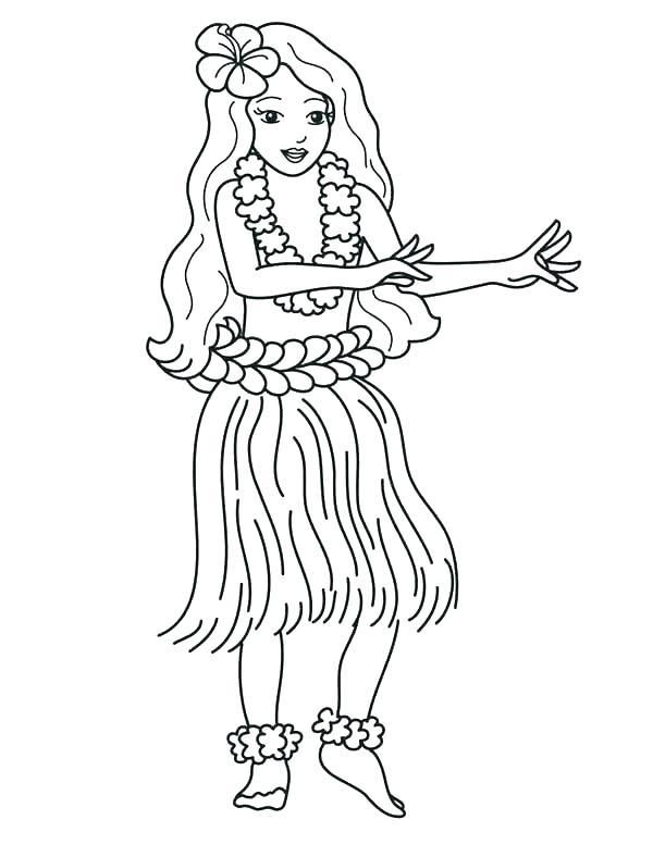Hula Girl Coloring Page Beach Coloring Pages The Beach Coloring