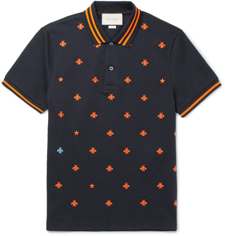The bee holds sentimental value for Mr Alessandro Michele, as it's carved into marble monuments across Rome, the city from which the Creative Director (and <a href='http://www.mrporter.com/mens/Designers/Gucci'>Gucci</a> itself) both hail. Embroidered with the insect in contrasting orange and light-blue, this polo shirt is made from navy stretch-cotton piqué and cut in a neat slim shape.