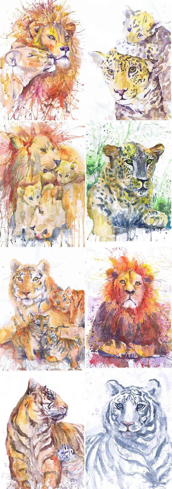 ACEO Artist Trading Cards Art Prints Watercolor Painting Wild Cats Animals ATC Giclee Big Cat Set of 9 Signed Collectible Card Watercolourr  Set of 8