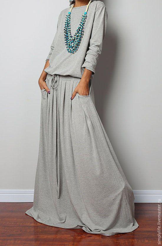 Купить Леди - комбинированный, костюм, трикотажное платье, трикотажная юбка, юбка длинная, юбка в пол
