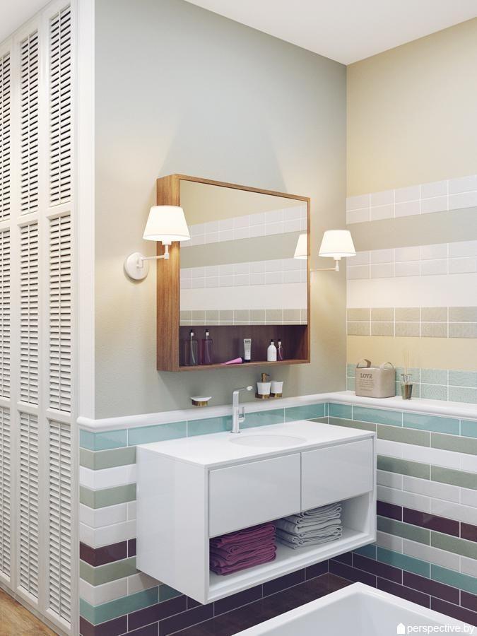 Интерьер ванной комнаты, бра у зеркала в ванной