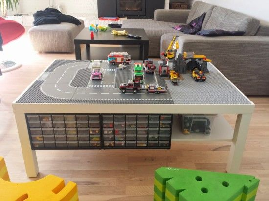 Lack Lego Playtable with undertable storage - IKEA Hackers. This is a slick looking one.