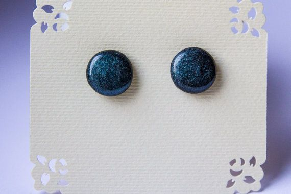 Black and green sparkle studs black sparkle studs от JewelryBest