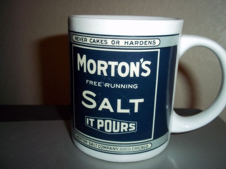Morton's Salt Coffee Mug Cup Tin Box Company