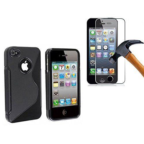 HQ-Cloud–Carcasa de silicona para iPhone 5C–S-Line–Negro + 1película de protección de pantalla de cristal templado - http://www.tiendasmoviles.net/2017/09/hq-cloud-carcasa-de-silicona-para-iphone-5-c-s-line-negro-1-pelicula-de-proteccion-de-pantalla-de-cristal-templado/
