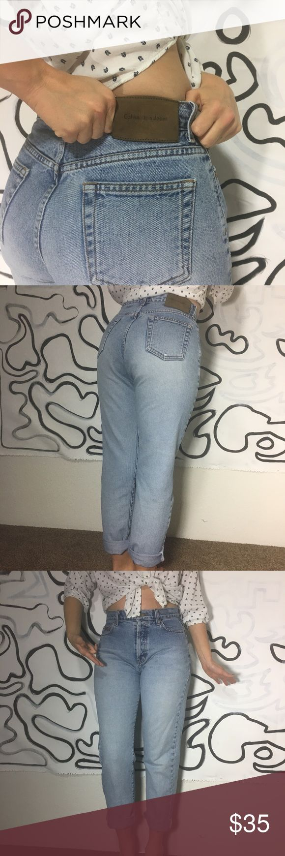 Calvin Klein High Waisted Jeans Vintage Mom Jeans Size 5. I'm a size 6 and these do fit but rather tightly as I'm on the curvy side.  Great vintage condition.  Light wash   Buttery soft denim Calvin Klein Jeans Jeans Straight Leg