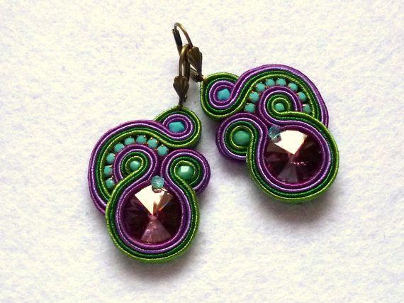 Soutache Earrings Colorful Swarovski Elegant Ethno Boho Glamour Ohrringe Soutache Boucles d'oreilles soutache Orecchini Soutache