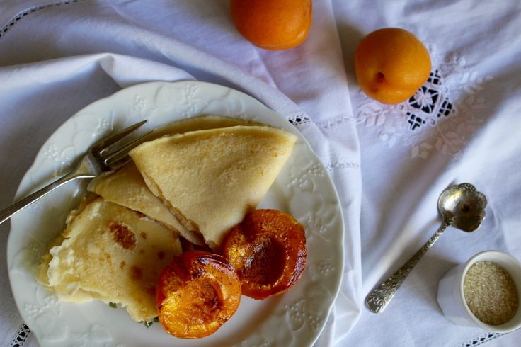Gluten Free Crêpes with Cinnamon Baked Apricots | Wonderland Eats