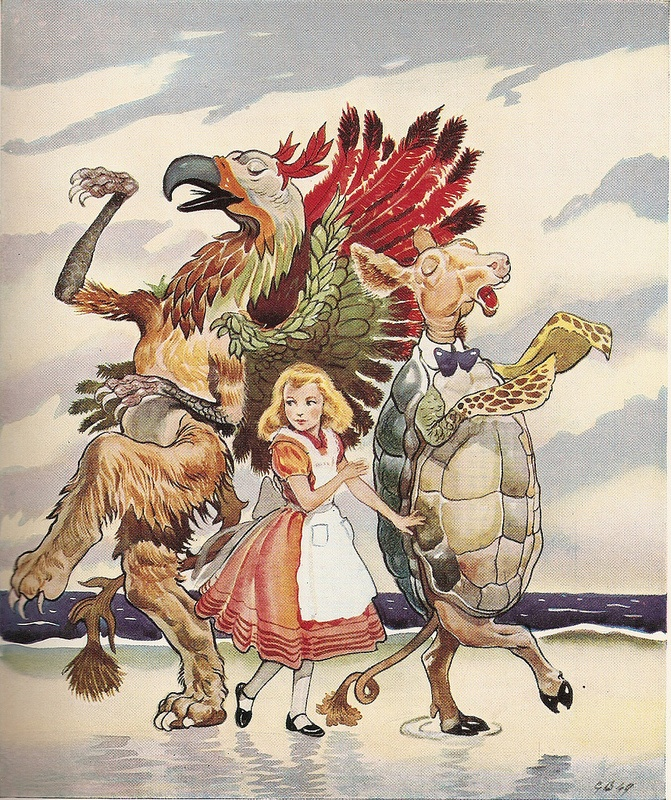 """Will you, won't you, will you, won't you, will you join the dance? Gryphon and Mock Turtle - """"Alice in Wonderland"""", illustrated by G. W. Backhouse. Collins 1954."""