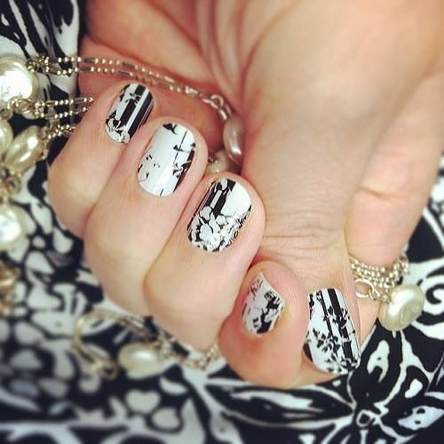 Floral Noir is such a classic design. Why wouldn't you want to Glam your Nails with these.  www.glamthenails.jamberrynails.net