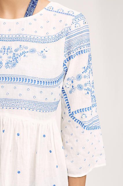Lockeres Blusen Outfit für heisse Sommertage - Tunika in weiß blau *** Casual Blouse Outfit for Hot Summer Days in white blue