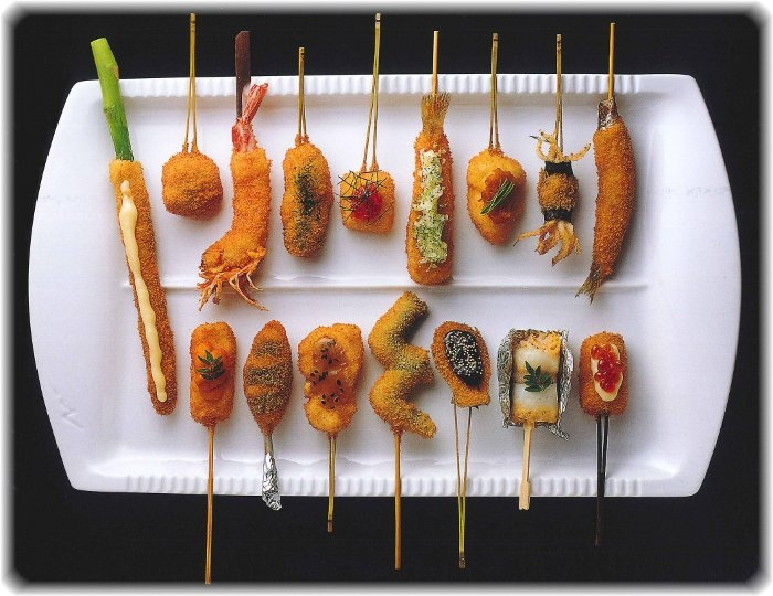 "Japanese Food -""Kushi-Age"" cutlet on a stick"