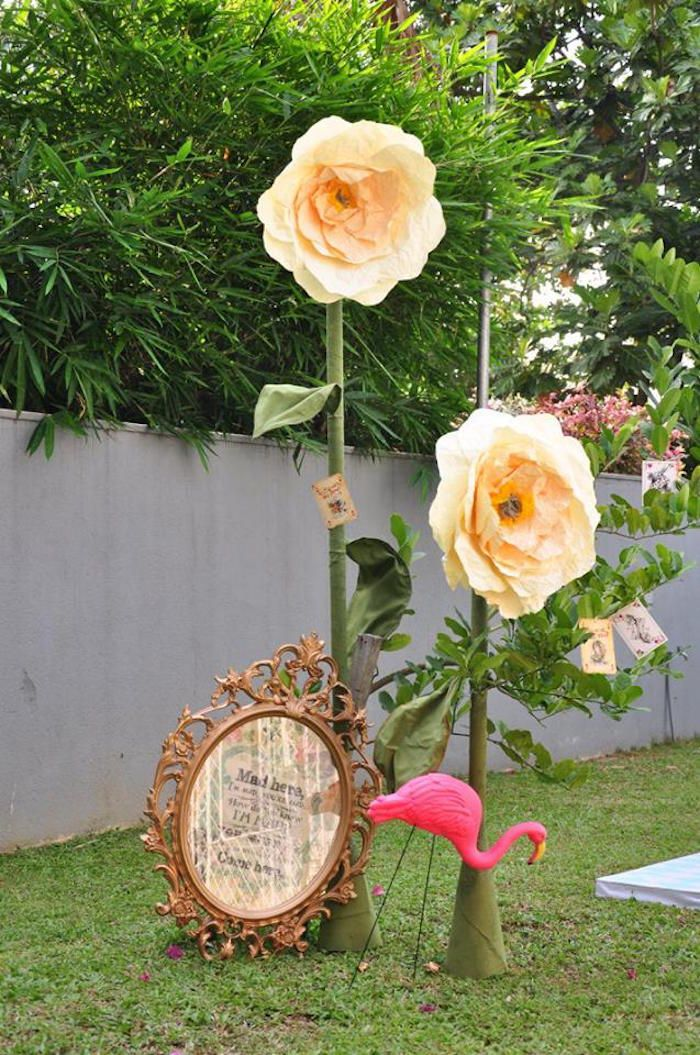 Oversized Flowers And Frame From Vintage Alice In Wonderland Birthday Party  Atu2026