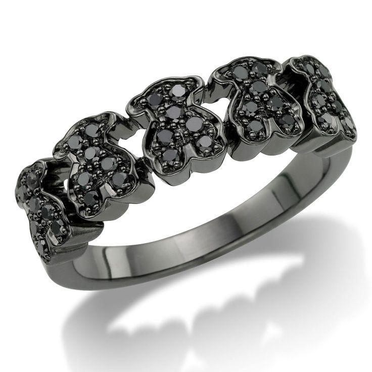 j'adore TOUS!! 18kt white gold TOUS Bear ring with black Diamonds.