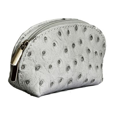 Light Grey Ostrich Leather Coin Purse - Now with free UK postage!