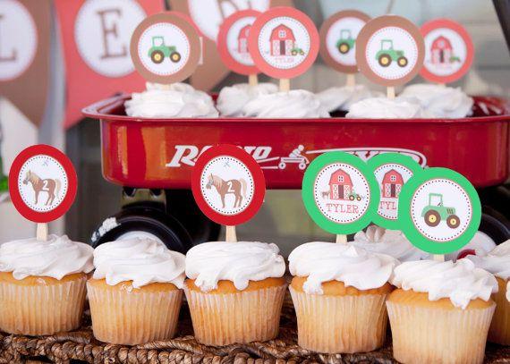 Farm cupcake toppers. Barnyard cupcake by brownpaperstudios, $5.50