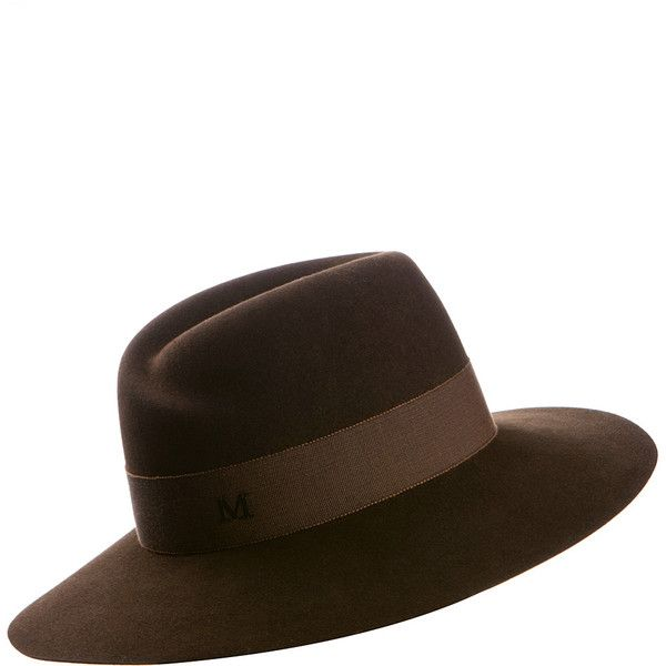 Maison Michel Virginie Brown Felt Hat ($530) ❤ liked on Polyvore featuring accessories, hats, maison michel, brown hat, felt hat, waterproof hat and maison michel hats
