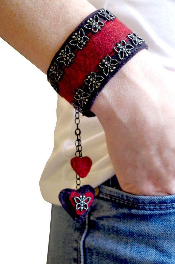 Beautiful Red Valentine Cuff Bracelet, Felt Bracelet, Felt Jewelry, Heart Bracelet, Butterfly Bracelet