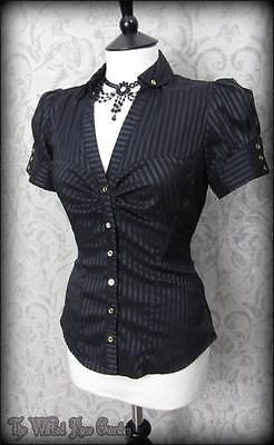 Elegant Gothic Black Satin Striped Puff Sleeve Top 10 Victorian Steampunk in Clothes, Shoes & Accessories, Women's Clothing, Tops & Shirts   eBay