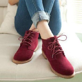 Novo 2015 Vintage Ladies Casual calçados femininos Ankle Boots moda plana calcanhar botas de motociclista sapatos de couro artificial XWP006